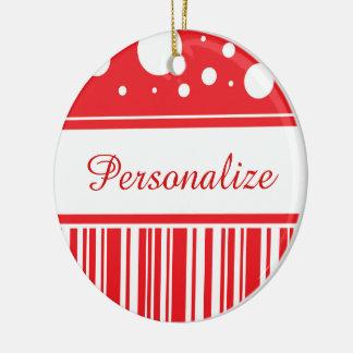 Ornamento De Cerâmica Vermelho & White Christmas