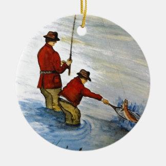 Ornamento De Cerâmica Viagem de pesca do pai e do filho