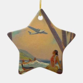 Ornamento De Cerâmica Viagem havaiano do vintage - dançarino da menina