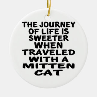 Ornamento De Cerâmica Viajado com gato do mitene