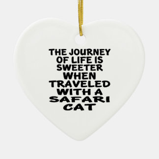 Ornamento De Cerâmica Viajado com gato do safari