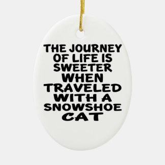 Ornamento De Cerâmica Viajado com gato do sapato de neve