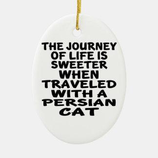 Ornamento De Cerâmica Viajado com gato persa