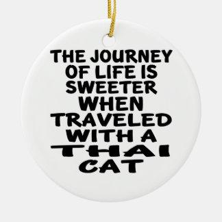 Ornamento De Cerâmica Viajado com gato tailandês