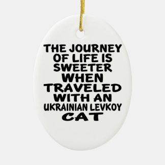 Ornamento De Cerâmica Viajado com o gato de Levkoy do ucraniano