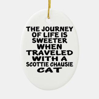 Ornamento De Cerâmica Viajado com o gato do chausie do Scottie