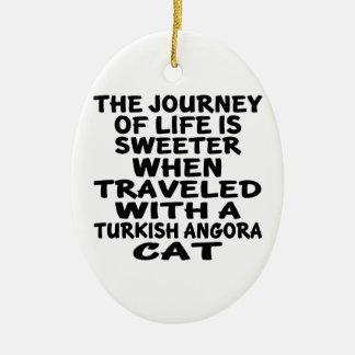 Ornamento De Cerâmica Viajado com o gato turco do angora