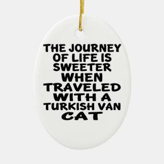 Ornamento De Cerâmica Viajado com Turco Van Gato
