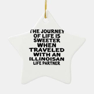 Ornamento De Cerâmica Viajado com um sócio da vida de Illinoisan