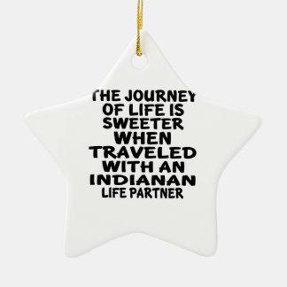 Ornamento De Cerâmica Viajado com um sócio da vida de Indianan