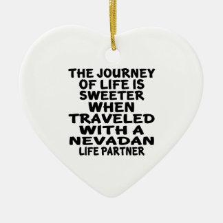 Ornamento De Cerâmica Viajado com um sócio da vida de Nevadan