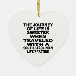 Ornamento De Cerâmica Viajado com um sócio da vida do Carolinian sul