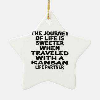 Ornamento De Cerâmica Viajado com um sócio da vida do Kansan