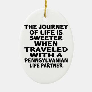Ornamento De Cerâmica Viajado com um sócio da vida do Pennsylvanian