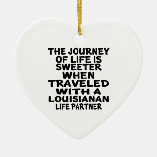 Ornamento De Cerâmica Viajado com um sócio Louisianan da vida