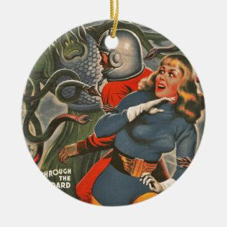 Ornamento De Cerâmica Viajantes do espaço atacados pelo monstro do