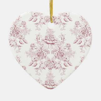 Ornamento De Cerâmica Victorian, brandamente amarelo, brandamente rosa,