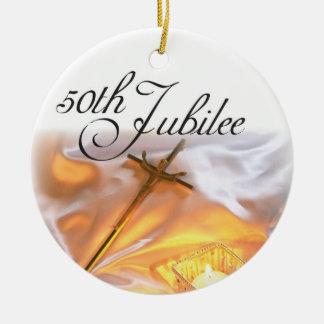 Ornamento De Cerâmica Vida religiosa do jubileu dourado, vela
