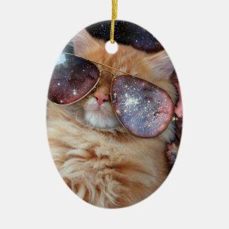 Ornamento De Cerâmica Vidros do gato - gato dos óculos de sol - espaço