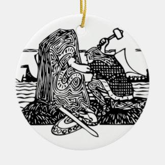 Ornamento De Cerâmica Viking que cinzela Runes