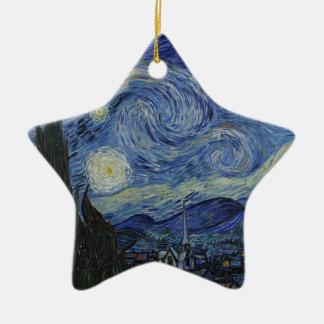 Ornamento De Cerâmica Vincent van Gogh - noite estrelado. Pintura da