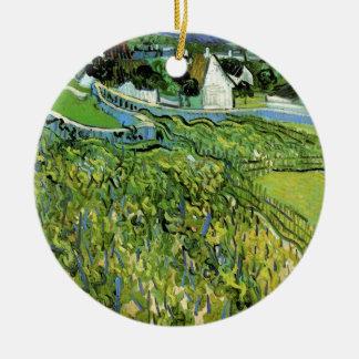 Ornamento De Cerâmica Vinhedos de Van Gogh com Auvers, belas artes do