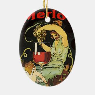 Ornamento De Cerâmica Vinho do Merlot do vintage