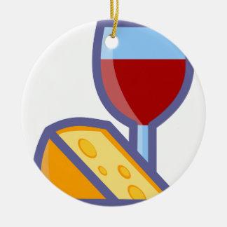 Ornamento De Cerâmica Vinho e queijo