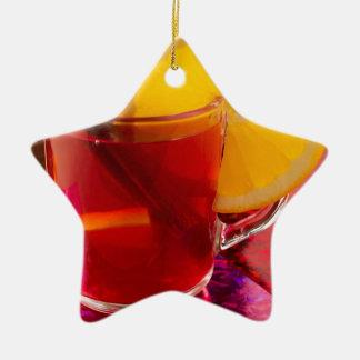 Ornamento De Cerâmica Vinho mulled fruta com canela e laranja