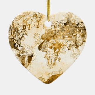 Ornamento De Cerâmica vintage 1 do mapa do mundo