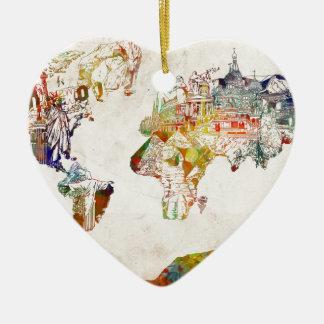 Ornamento De Cerâmica vintage 2 do mapa do mundo