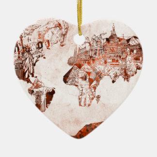 Ornamento De Cerâmica vintage 3 do mapa do mundo