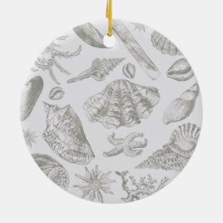 Ornamento De Cerâmica Vintage chique da praia do impressão da arte do