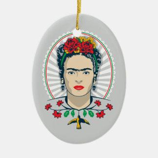 Ornamento De Cerâmica Vintage de Frida Kahlo | floral