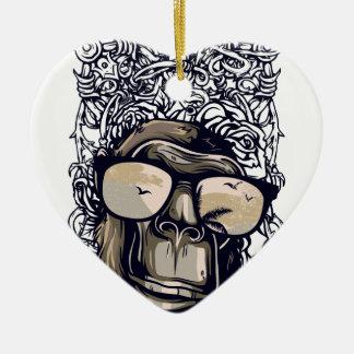 Ornamento De Cerâmica vintage do macaco com glasess