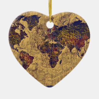 Ornamento De Cerâmica vintage do mapa do mundo