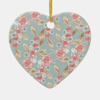 Ornamento De Cerâmica Vintage, flores cor-de-rosa românticas dos rosas