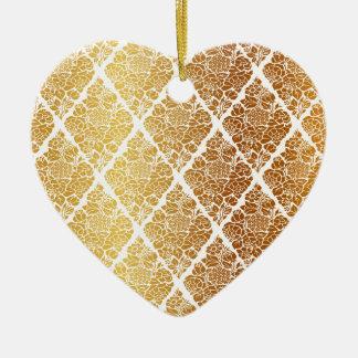 Ornamento De Cerâmica Vintage, ouro, damasco, floral, teste padrão,