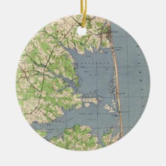 Ornamento De Cerâmica Vintage Rehoboth & Bethany Praia DE Mapa (1944)