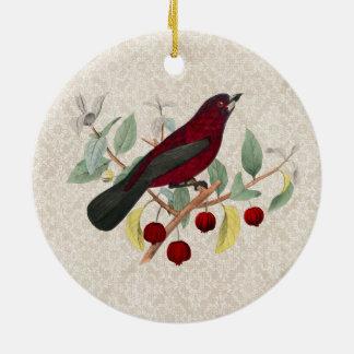Ornamento De Cerâmica vintage vermelho do pássaro do outono