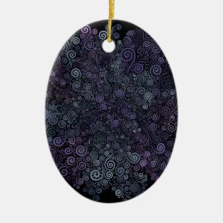 Ornamento De Cerâmica violeta 3d psicadélico e cerceta