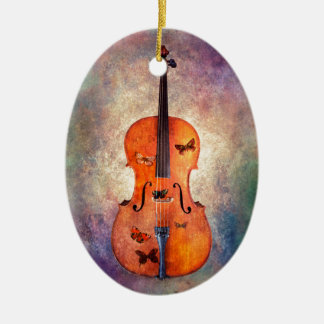 Ornamento De Cerâmica Violoncelo mágico com borboletas