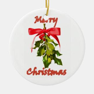 Ornamento De Cerâmica Visco do Feliz Natal personalizado