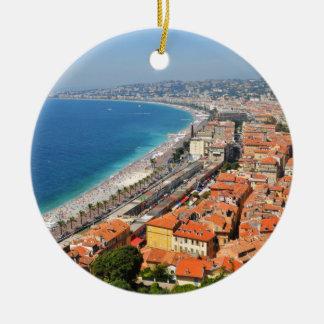 Ornamento De Cerâmica Vista aérea de Riviera francês em agradável,