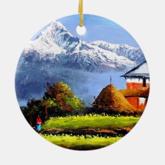 Ornamento De Cerâmica Vista panorâmica da montanha bonita de Everest