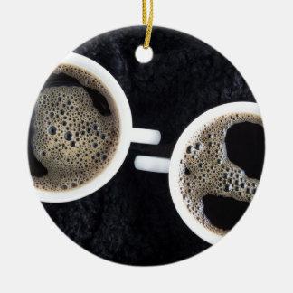 Ornamento De Cerâmica Vista superior de duas chávenas de café pequenas