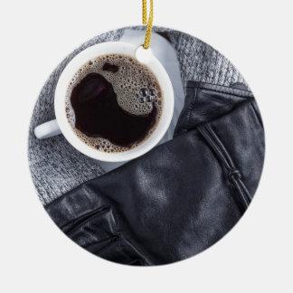 Ornamento De Cerâmica Vista superior de um copo branco com café