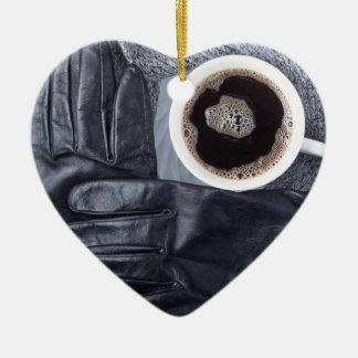 Ornamento De Cerâmica Vista superior de uma chávena de café branca e de