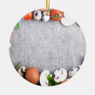 Ornamento De Cerâmica Vista superior dos ingredientes de comida no