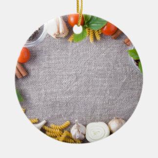 Ornamento De Cerâmica Vista superior dos ingredientes para uma refeição